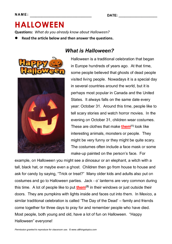 Halloween Read And Write Worksheets