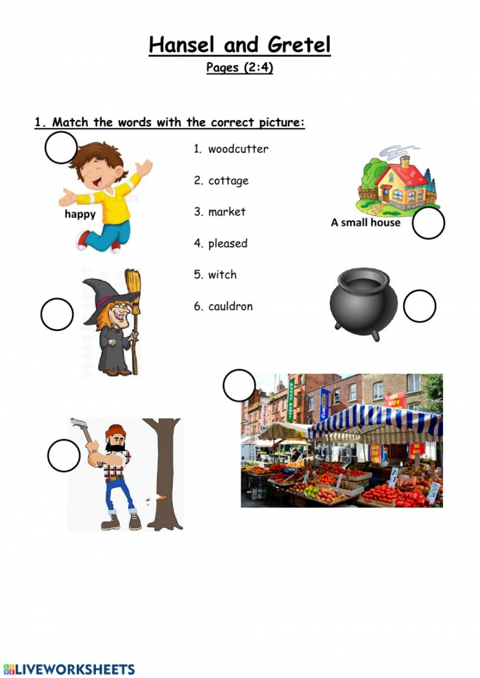 Hansel And Gretel Matching Words With Picture