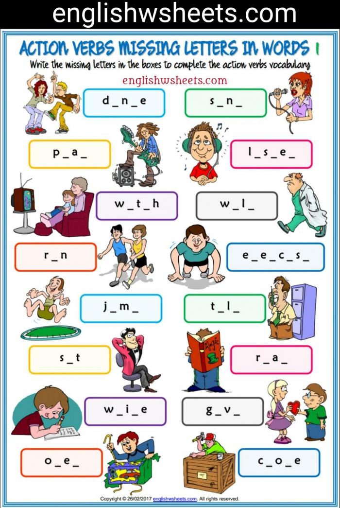 Action Verbs Esl Printable Missing Letters In Words Worksheets For