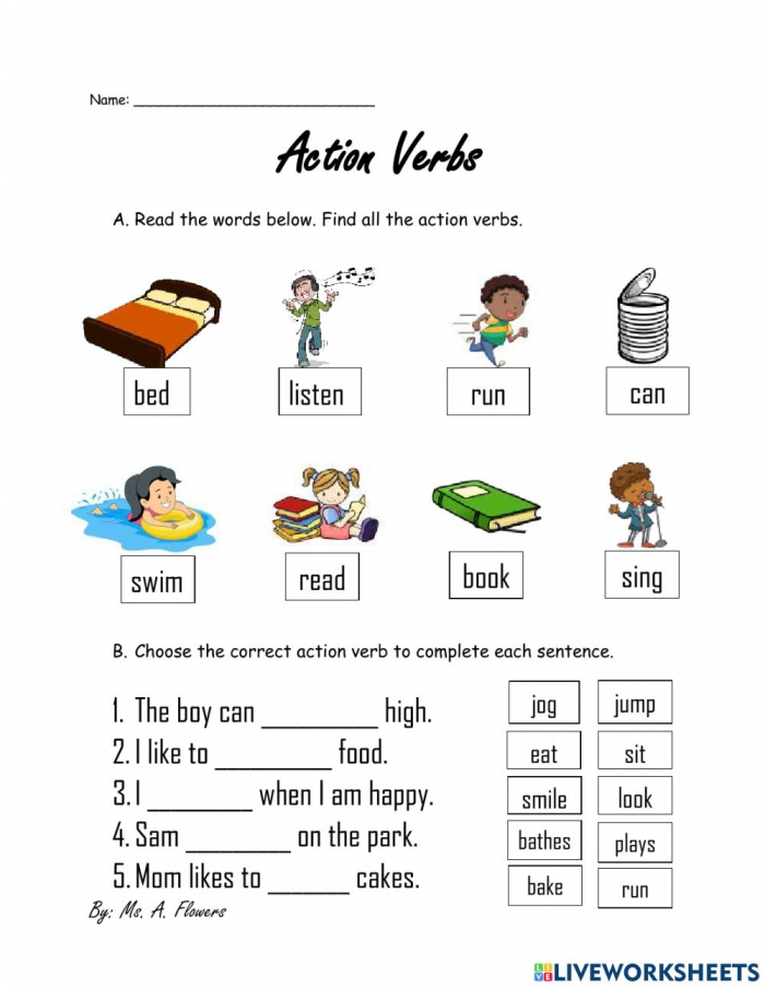 Action Verbs Online Exercise For K