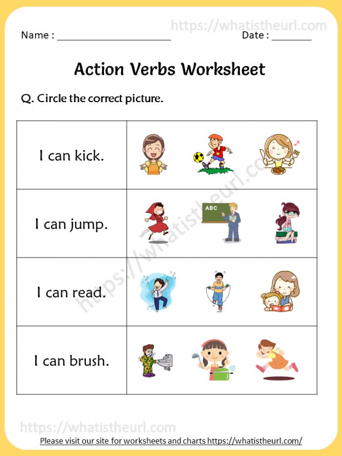 Action Verbs Worksheet For St Grade