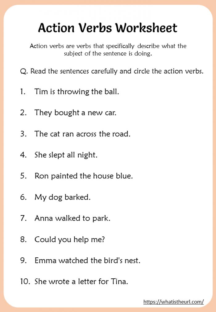Action Verbs Worksheets Rd Grade