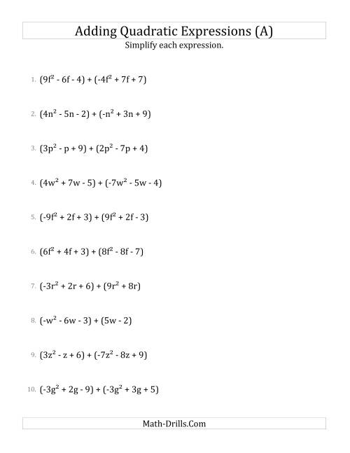 Adding And Simplifying Quadratic Expressions A