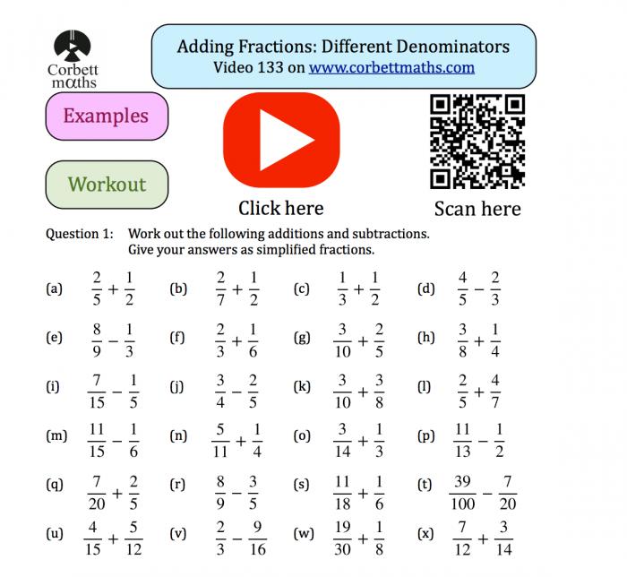 Adding Fractions Textbook Exercise Corbettmaths