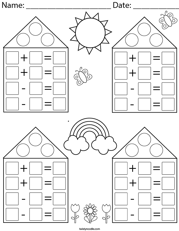 Addition And Subtraction Blank Fact Family Math Worksheet