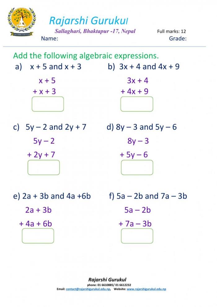 Addition Of Algebraic Expressions Worksheet