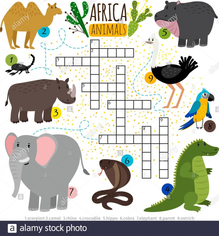 African Animals Crossword Vector Cross Words Searching Puzzle