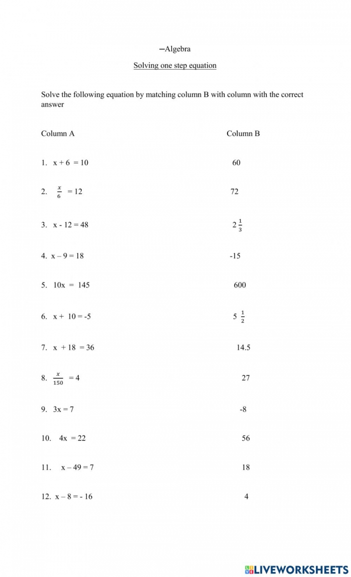 Algebra One Step Equation Worksheet