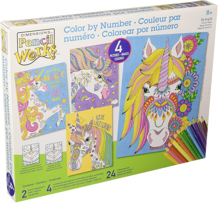 Amazoncom Dimensions Rainbow Unicorn Pencil Color By Numbers Kit