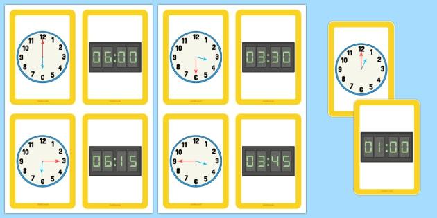 Analogue Digital Clocks Matching Cards