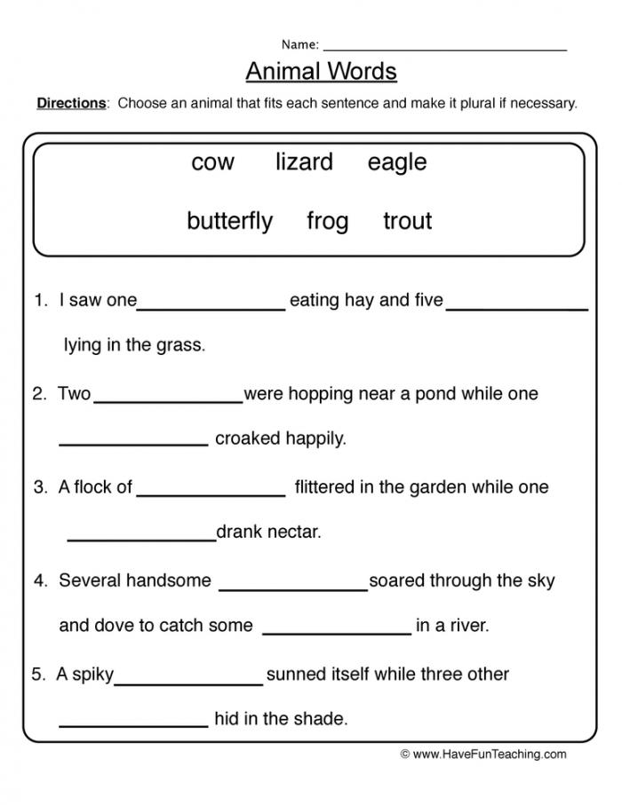 Animal Words Singular Plural Worksheet Have Fun Teaching