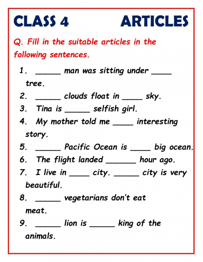 Articles For Class Worksheet