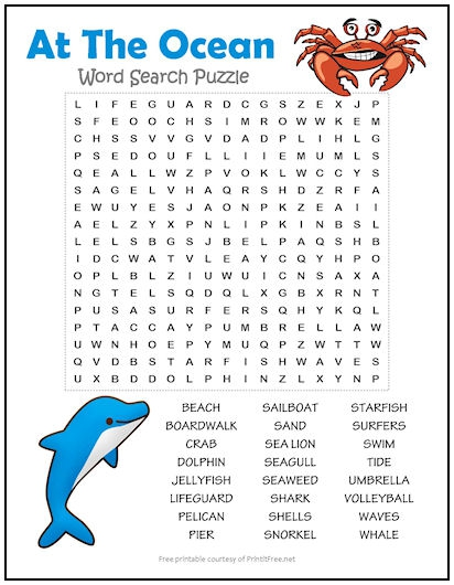 At The Ocean Word Search Puzzle