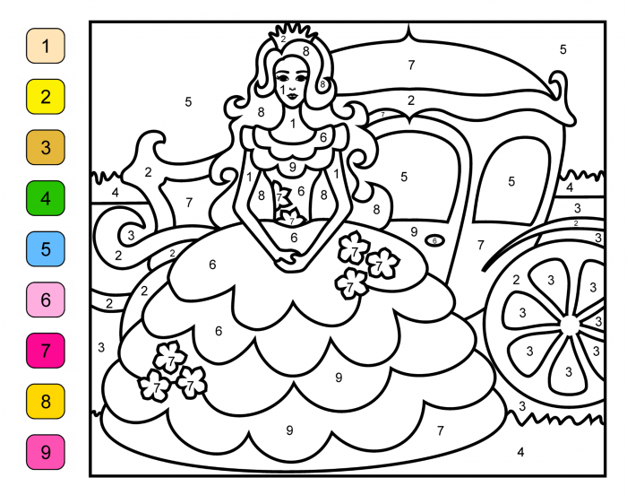 Best Printable Princess Color By Number Pages