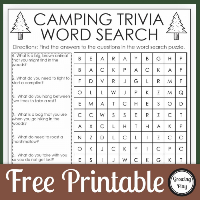 Camping Trivia Word Search Puzzle