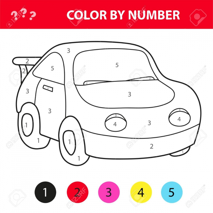 Car In Cartoon Style Color By Number Education Paper Game For