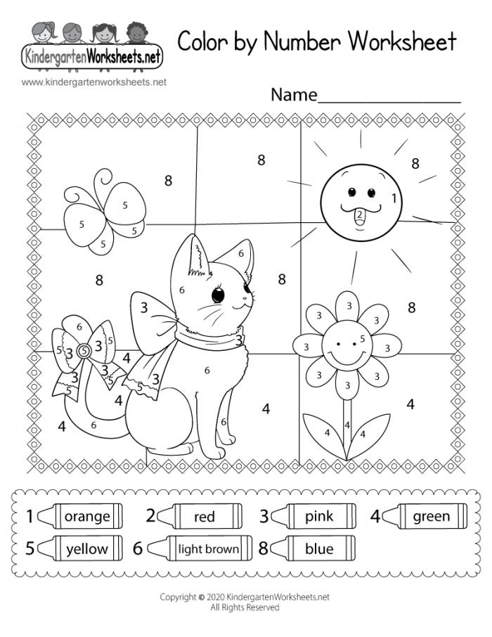 Cat Color By Number Worksheet For Kids