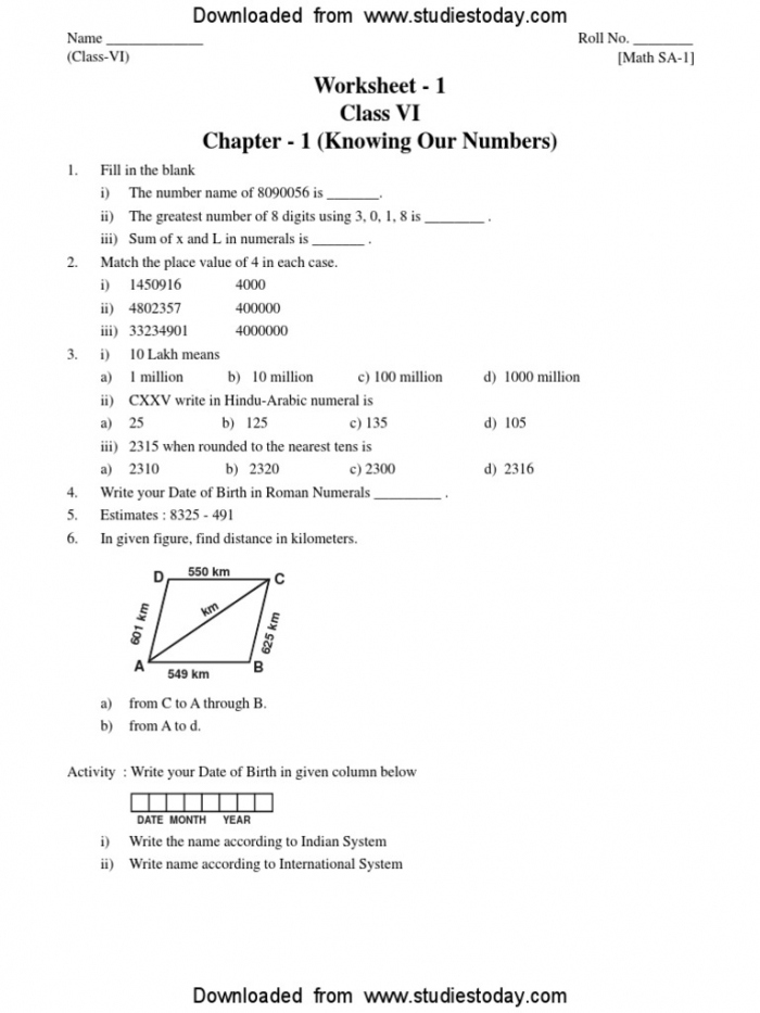 Cbse Class Knowing Our Numbers Worksheet Pdf