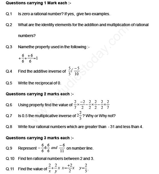 Cbse Class Mathematics Rational Numbers Assignment Set E