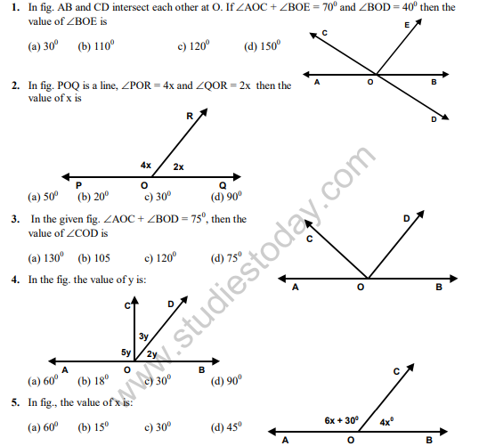 Cbse Class Maths Lines And Angles Mcqs Set B Multiple Choice