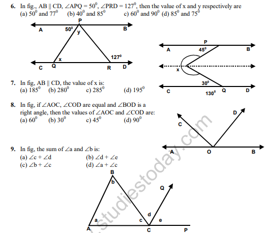 Cbse Class Maths Lines And Angles Mcqs Set C Multiple Choice