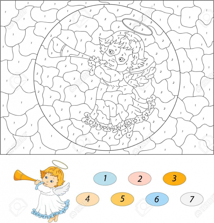 Christmas Angel With A Trumpet Color By Number Educational Game