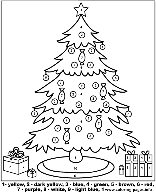 Christmas Tree Color By Number Coloring Pages Printable