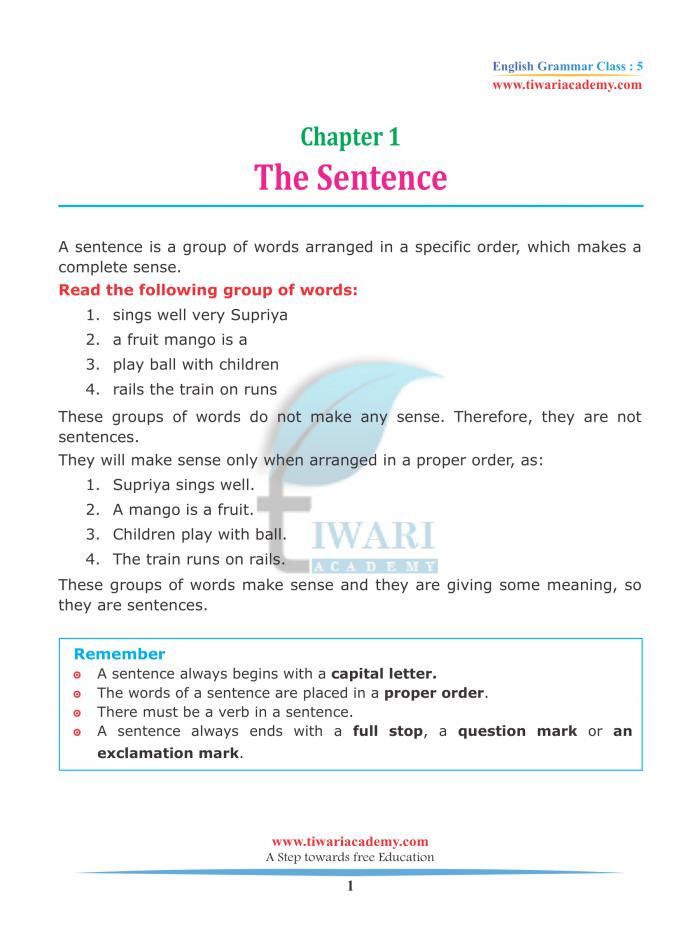 Class English Grammar Chapter The Sentence For