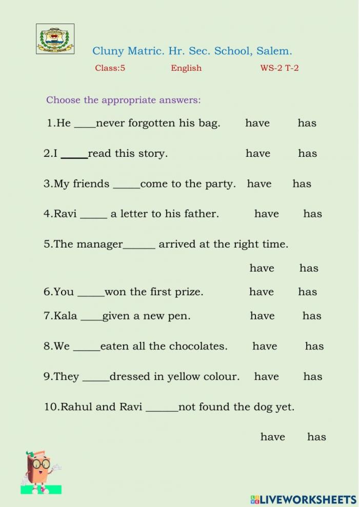 Class English Interactive Worksheet