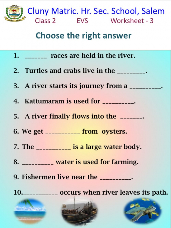 Class Evs Sea Rivers Worksheet