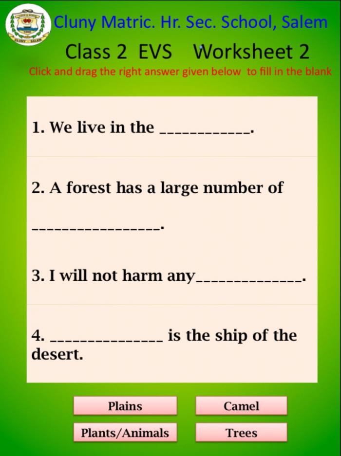 Class Evs Worksheet Worksheet