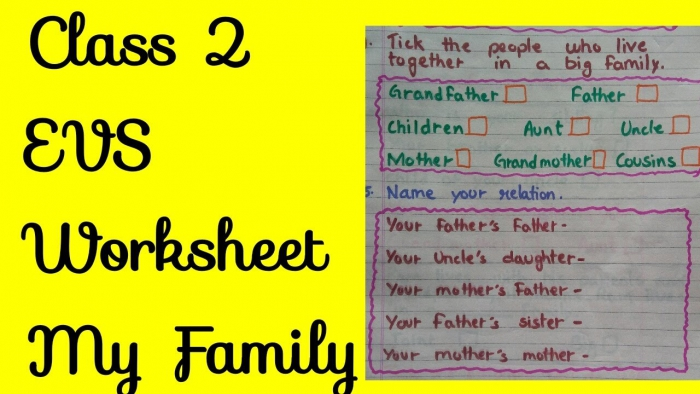 Class Evs Worksheet My Family