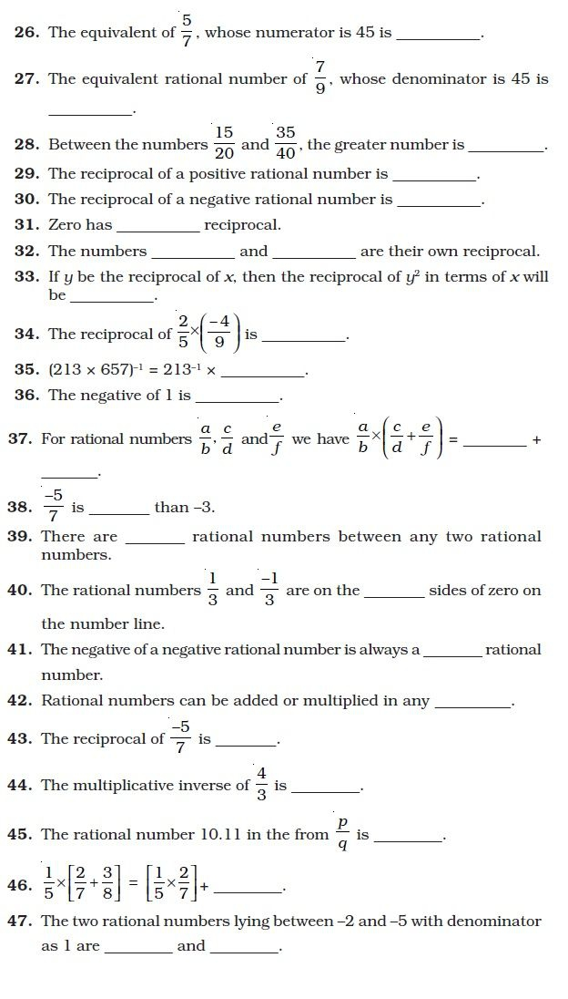 Class Important Questions For Maths Rational Numbers