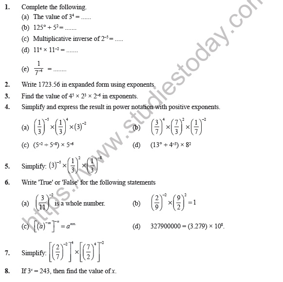 Class Maths Exponents And Power Worksheet