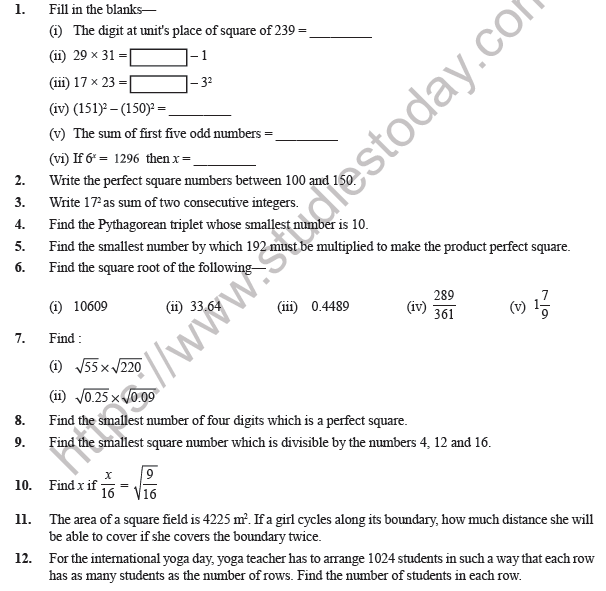 Class Maths Square And Square Roots Worksheet