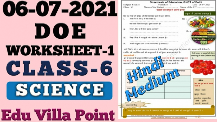 Class Science Worksheet Hindi Medium