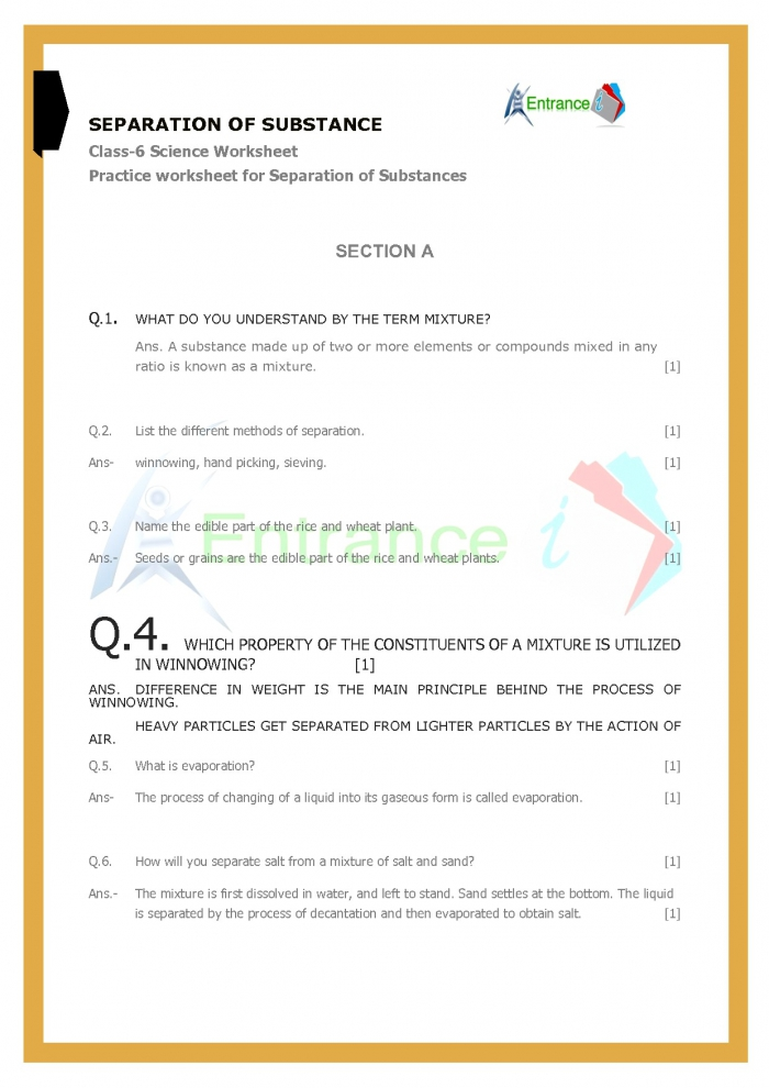 Class Science Worksheets Chapter