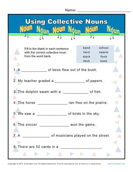 Collective Noun Worksheets