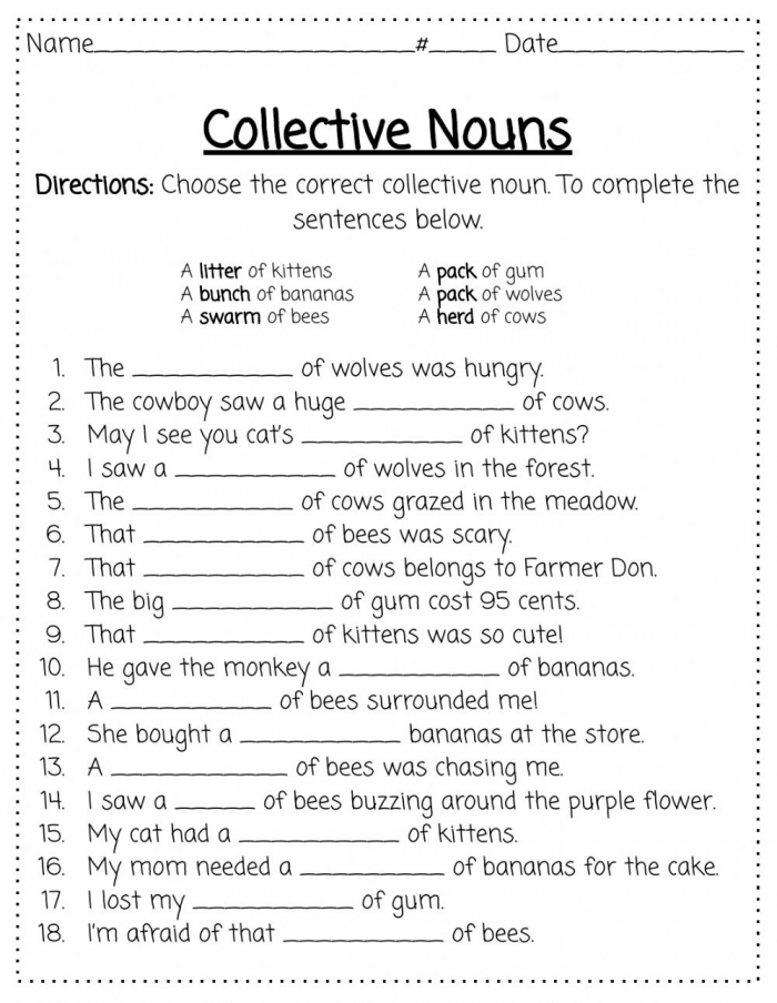 Collective Nouns Activity For
