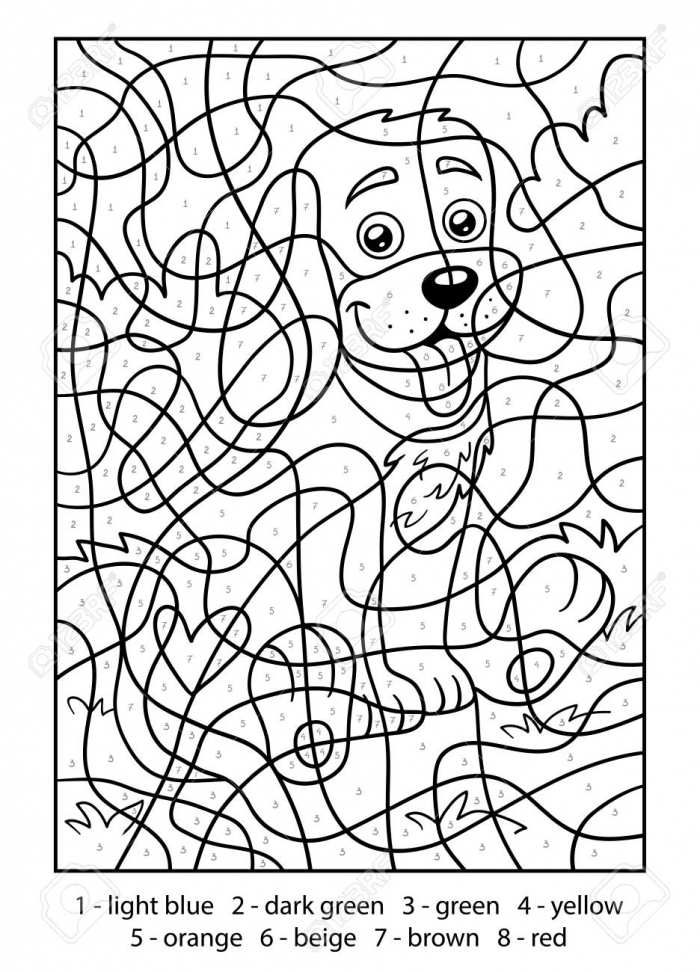 Color By Number For Children Dog Royalty Free Cliparts Vectors