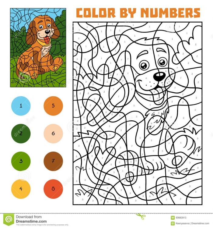 Color By Number For Children Dog Stock Vector