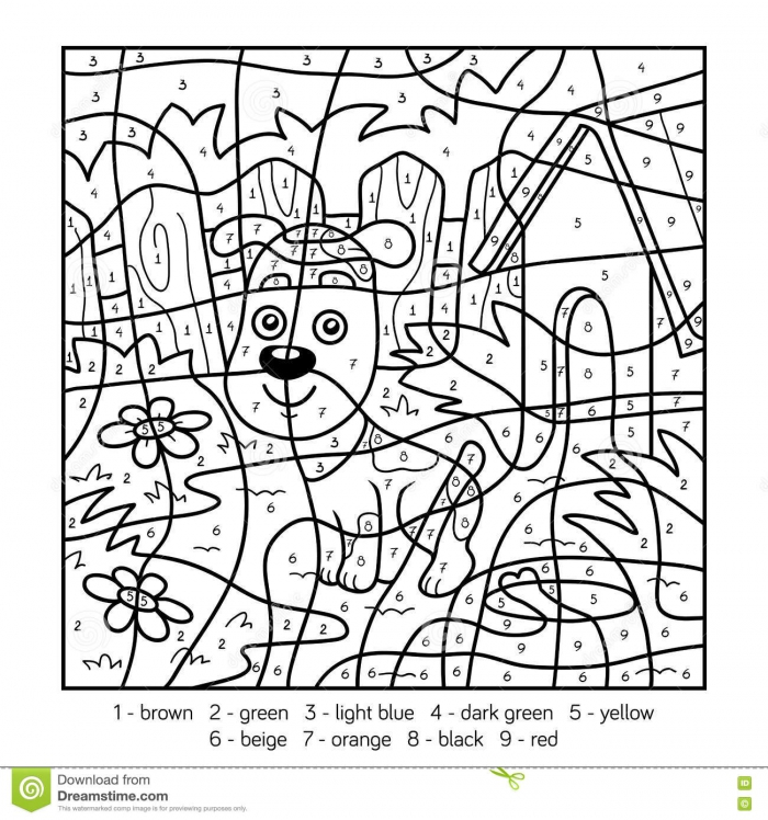 Color By Number For Children With A Dog Stock Vector