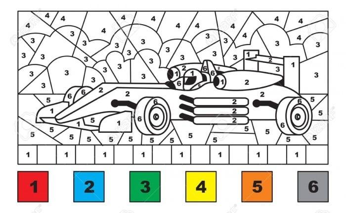 Color By Number Race Car Worksheets