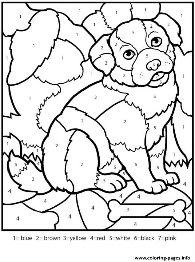 Color By Numbers Adult Worksheets Dog Coloring Pages Printable