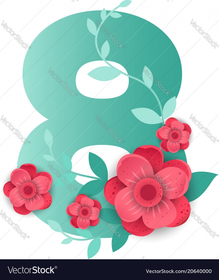 Color Number With Beautiful Flowers Royalty Free Vector