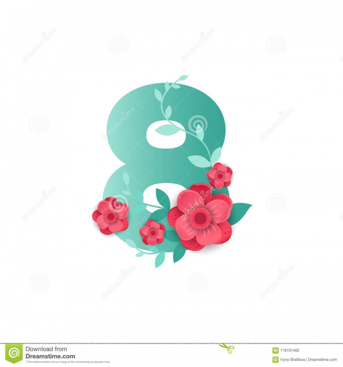 Color Number With Beautiful Flowers Stock Vector