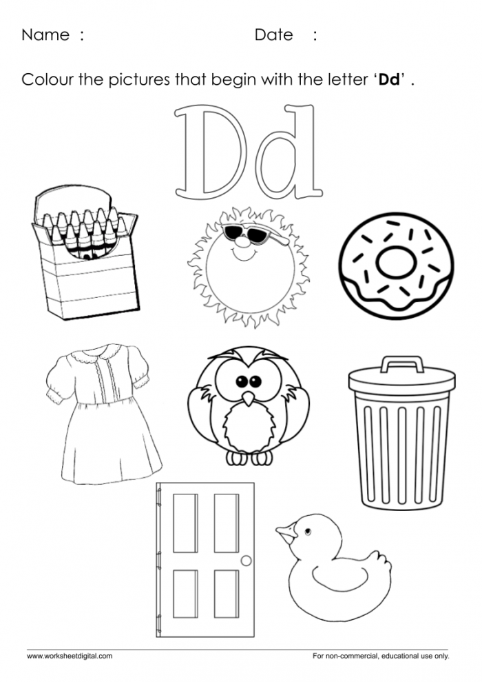 Color The Pictures Which Start With Letter D Worksheet