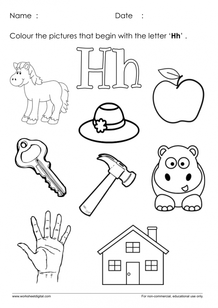 Color The Pictures Which Start With Letter H Worksheet