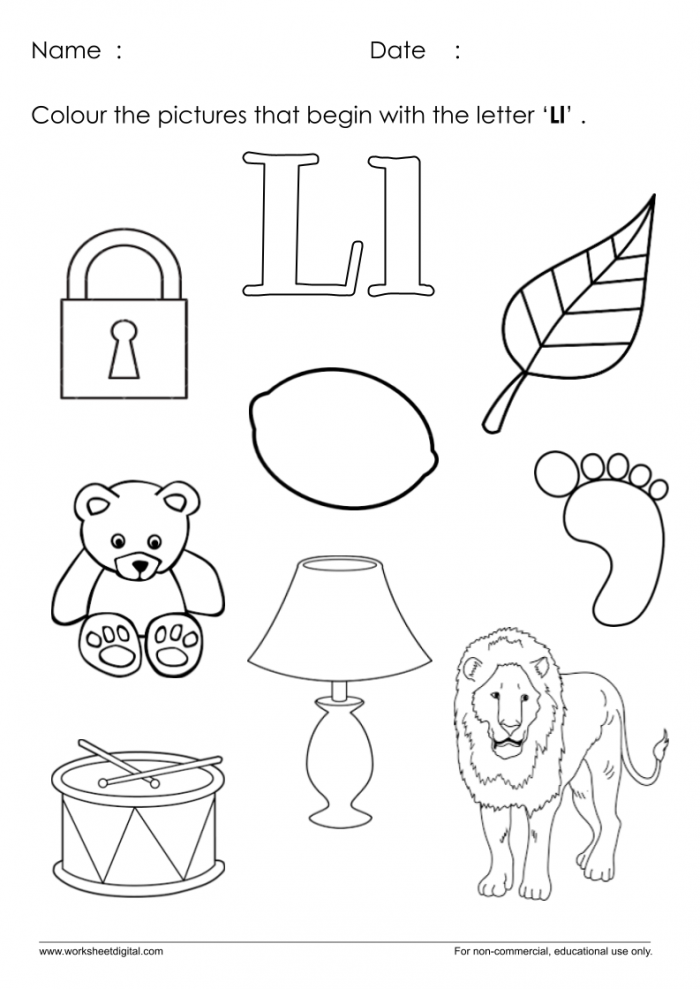 Color The Pictures Which Start With Letter L Worksheet