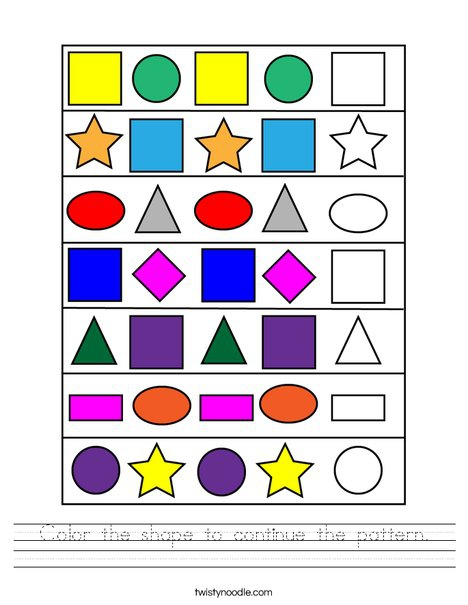 Color The Shape To Continue The Pattern Worksheet